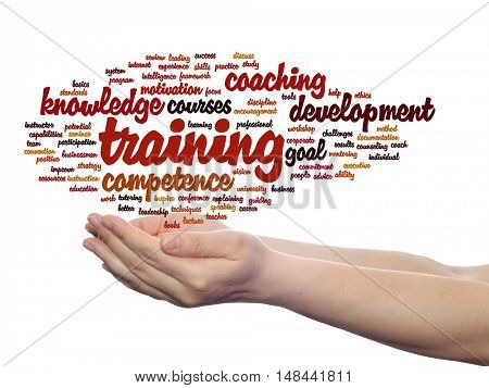 Concept or conceptual training, coaching or learning, study word cloud in hands isolated on background