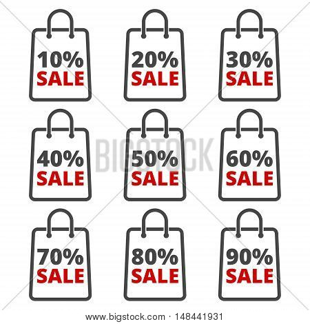 Paper bag, sale, discount percent sign on white