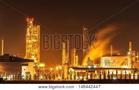The Coal power plants station at night.