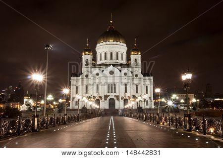 Christ the Savior Cathedral, night city lights