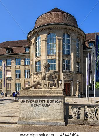 Zurich, Switzerland - 3 June, 2015: entrance to the University of Zurich, view from Ramistrasse street. The University of Zurich (German: Universitat Zurich or UZH) is the largest university in Switzerland, founded in 1833.