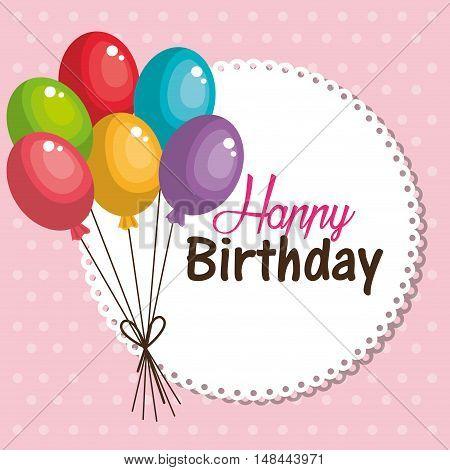 card balloons happy birthday graphic vector illustration eps 10