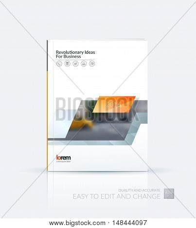 Brochure template layout, cover design annual report, magazine, flyer, leaflet in A4 with yellow grey dynamic rectangle, triangles with overlap effect for business and technology. Creative artwork.