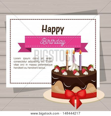card birthday cake chocolate ribbon graphic vector illustration eps 10