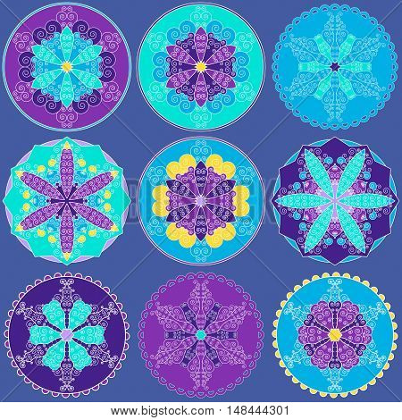 Set of abstract colorful snowflakes vector ing image.