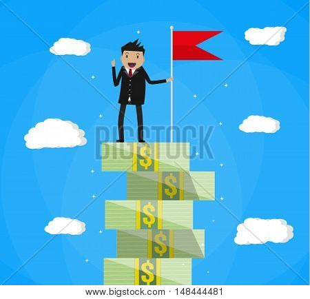 happy businessman with winners flag standing on money stairs. vector illustration in flat style on blue background with clouds