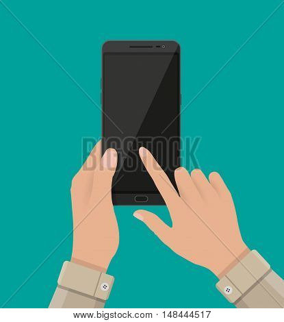Hand touching screen of black smartphone at green backgound. Empty screen. Vector illustration in flat design.