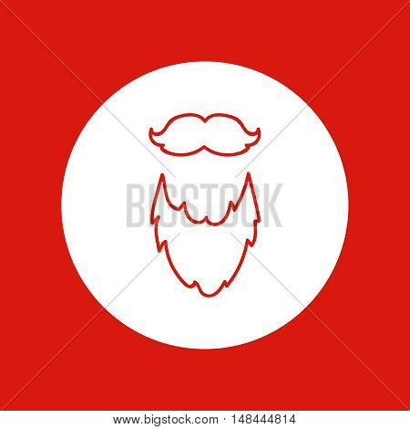 Hand drawn Christmas and New Year icon, vector design element, red line illustration isolated on white. Beard and mustache Santa Claus attribute