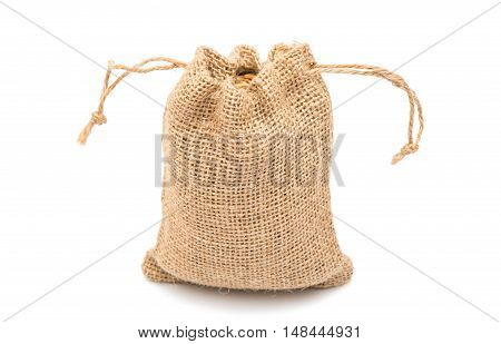 bag with wheat isolated on white background