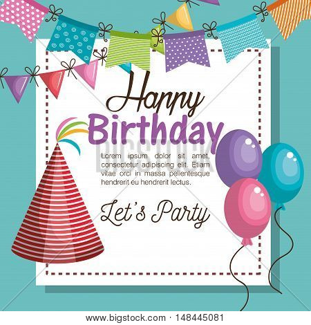 hat red happy birthday party graphic vector illustration eps 10