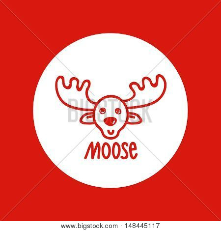 Hand drawn Christmas and New Year icon, vector design element, red line illustration isolated on white. Moose