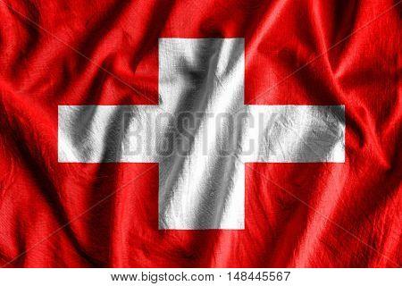 Waving flag of Switzerland - background flag