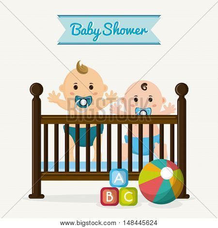 Baby boy cartoon and cradle. Baby shower and childhood theme. Isolated and colorful design. Vector illustration