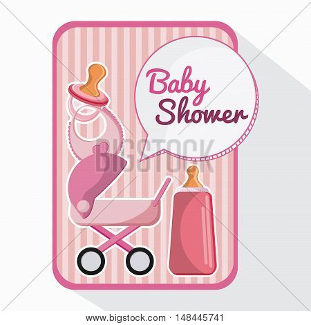 bottle stroller and baby bib. Baby shower and childhood theme. Isolated and colorful design. Vector illustration