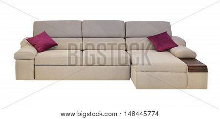 Modern Textile Corner Sofa With Pillows Isolated Included Clipping Path
