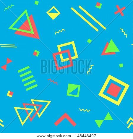 Seamless geometric vintage pattern in retro 80s style on the blue background. Memphis style. Can be used in textiles fashion clothes paper print and website backdrop.