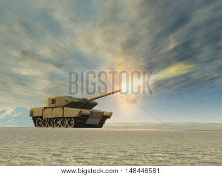 3d illustration of a battle tank firing in a desert