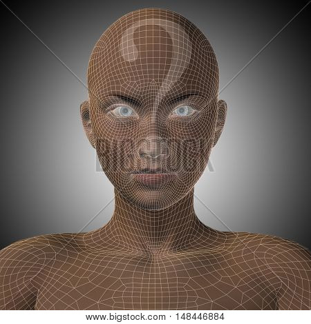 Concept or conceptual 3D illustration wireframe human female question ask head on gray background