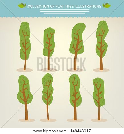 Collection of hand drawn cute cartoon trees
