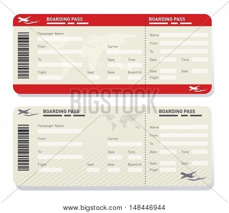 Illustration of two different airplane ticket template