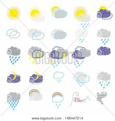 Meteorology vector icons set; Vector weather Illustration