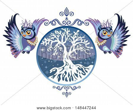 Vector illustration. Decorative vector owl with winter tree