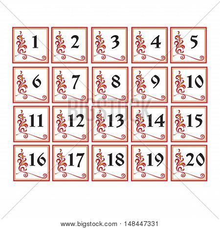 Vector illustration. Decorative vector russian number cards for wedding and holiday