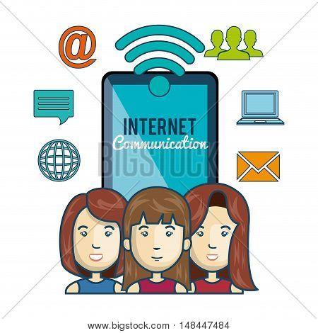 cartoon characters smartphone internet communication graphic vector illustration eps 10