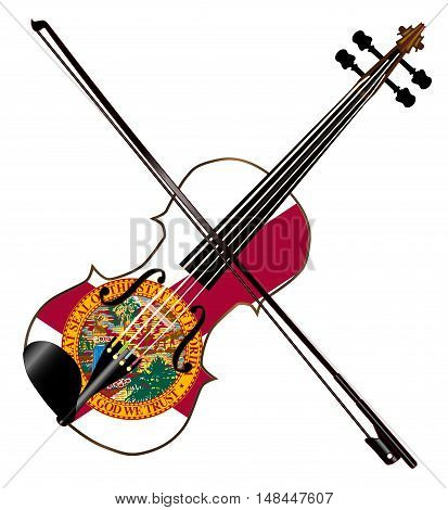 A typical violin with Florida flag and bow isolated over a white background