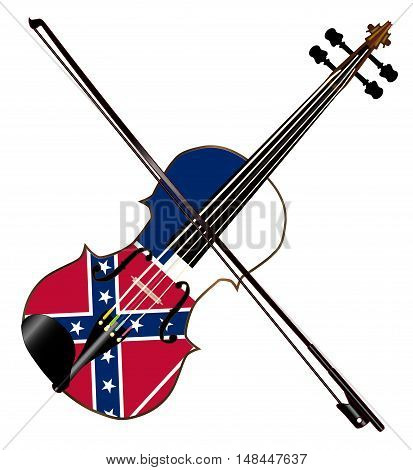 A typical violin with Mississippi flag and bow isolated over a white background