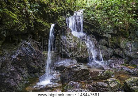 Waterfall on the trail of Araçá in the Devil's Cave National Park municipality of Eldorado São Paulo Brazil