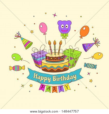Colourful Happy Birthday Party Background In Doodle Style. Vector Illustration.