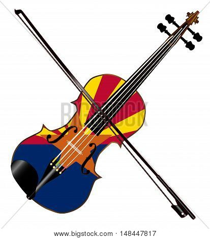 A typical violin with Arizona flag and bow isolated over a white background