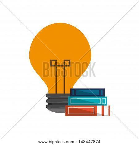 flat design lightbulb and books  icon vector illustration