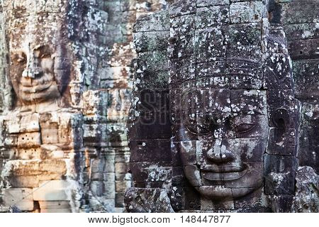 Texture Of Ancient Stone Carved, Cambodia