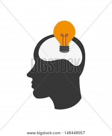 flat design head silhouette profile and lightbulb icon vector illustration