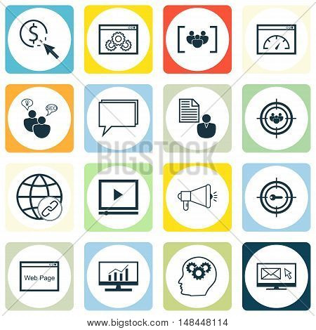 Set Of Seo, Marketing And Advertising Icons On Online Consulting, Client Brief, Target Keywords And