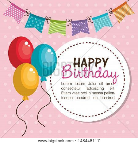 card happy birthday balloons graphic vector illustration eps 10