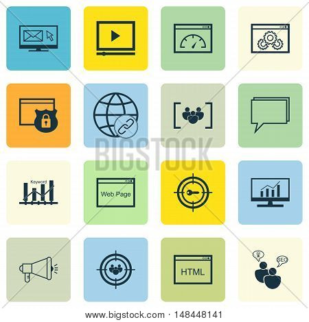 Set Of Seo, Marketing And Advertising Icons On Page Speed, Email Marketing, Video Advertising And Mo
