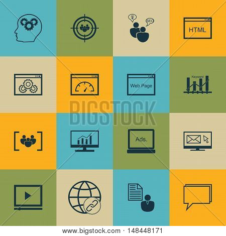 Set Of Seo, Marketing And Advertising Icons On Comprehensive Analytics, Seo Consulting, Page Speed A