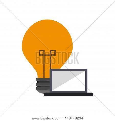 flat design lightbulb and laptop icon vector illustration