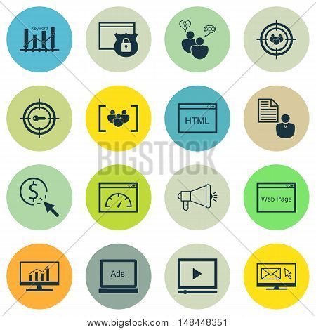 Set Of Seo, Marketing And Advertising Icons On Html Code, Pay Per Click, Web Page And More. Premium