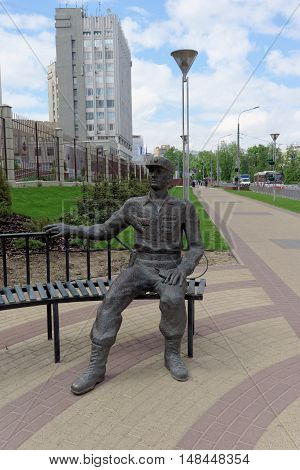 Nizhny Novgorod, Russia. - May 17.2016. Sculptures modern policeman near the building GU MVD in the Nizhny Novgorod region on Gorky Street
