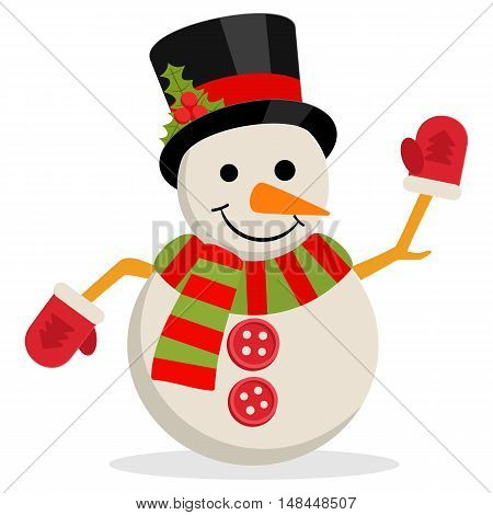 Snow Man in hat with holly branch. Vector illustration isolated on white. Merry christmas concept with snowman in scarf gloves and cylinder hat