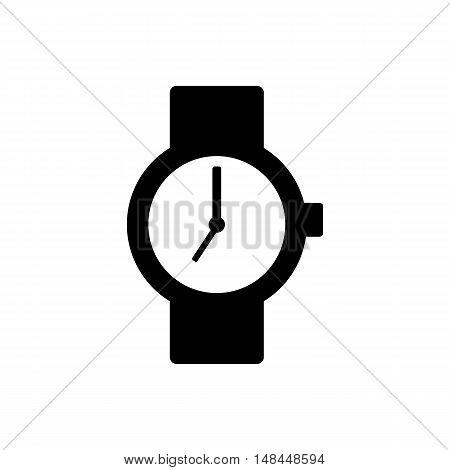 Wrist watch icon. Flat design. Silhouette vector illustration