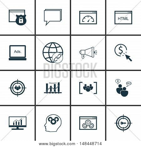 Set Of Seo, Marketing And Advertising Icons On Creativity, Html Code, Page Speed And More. Premium Q