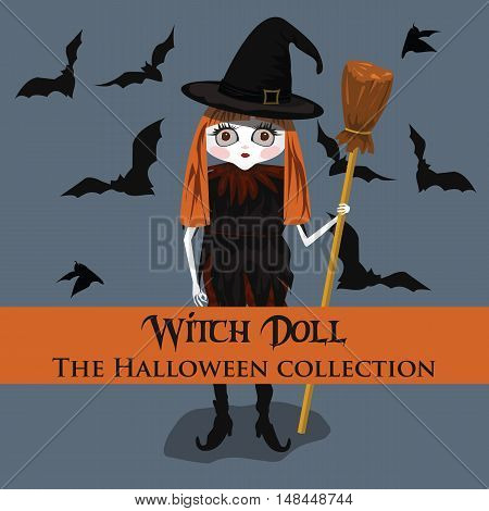 Vector background. Halloween style with witch doll. Format eps10.