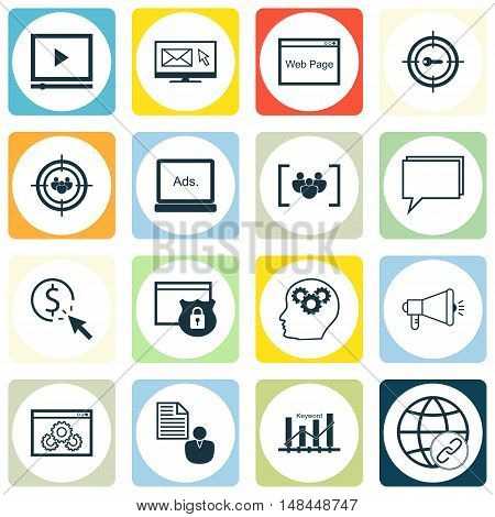Set Of Seo, Marketing And Advertising Icons On Display Advertising, Pay Per Click, Online Consulting