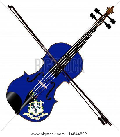 A typical violin with Connecticut state flag and bow isolated over a white background