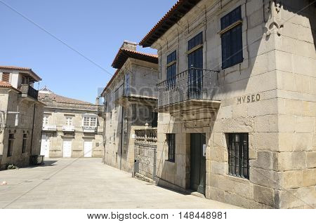 Exterior of museum in a stone street od the city of Pontevedra Galicia Spain.